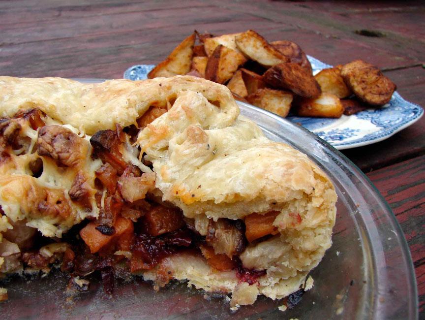 Sweet potato & cranberry galette
