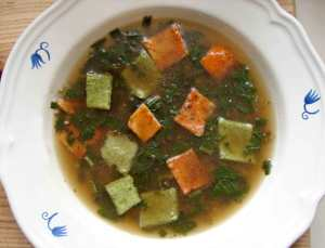 Broth with tarragon and savory custards