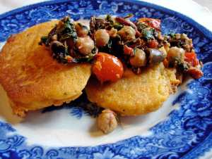 Corn cakes and chard