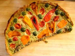 Roasted pepper and olive tart