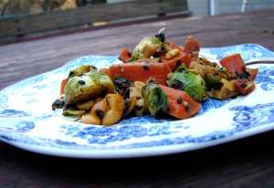 Brussels sprouts, carrots, cashews