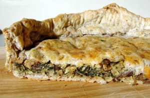 white bean, mushroom, and spinach pie