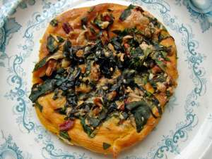 Butternut choux nest with spinach, pecans and smoked gouda