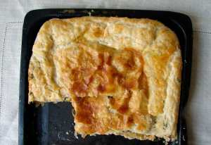Membrillo, manchego, and spinach pie