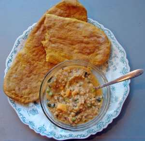 Millet dal and pumpkin flatbread