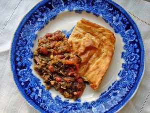 Masa harina bread and collards