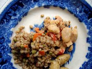 Farro pilaf and fried butterbeans