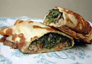 Spinach, tart cherry and gjetost crepes