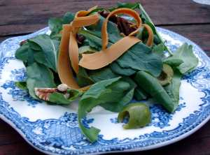 Arugula, gjetost and castelvetrano salad