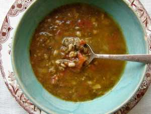French lentil farro soup