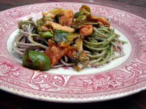 Soba with pesto, brussels sprouts and castelvetrano olives