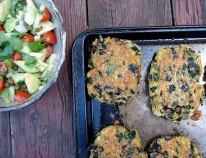Black bean and kale cornmeal cakes