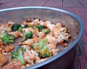 Broccoli and cauliflower with honey, tamari and cashews