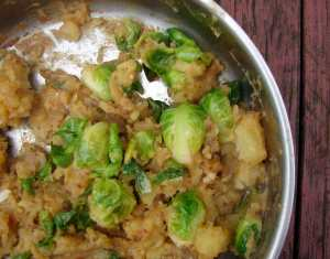 Brussels sprouts and potatoes with tamari and honey