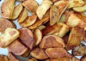 roasted sliced potatoes