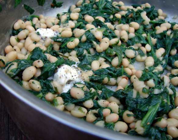 spinach sauteed with white beans and black truffle butter