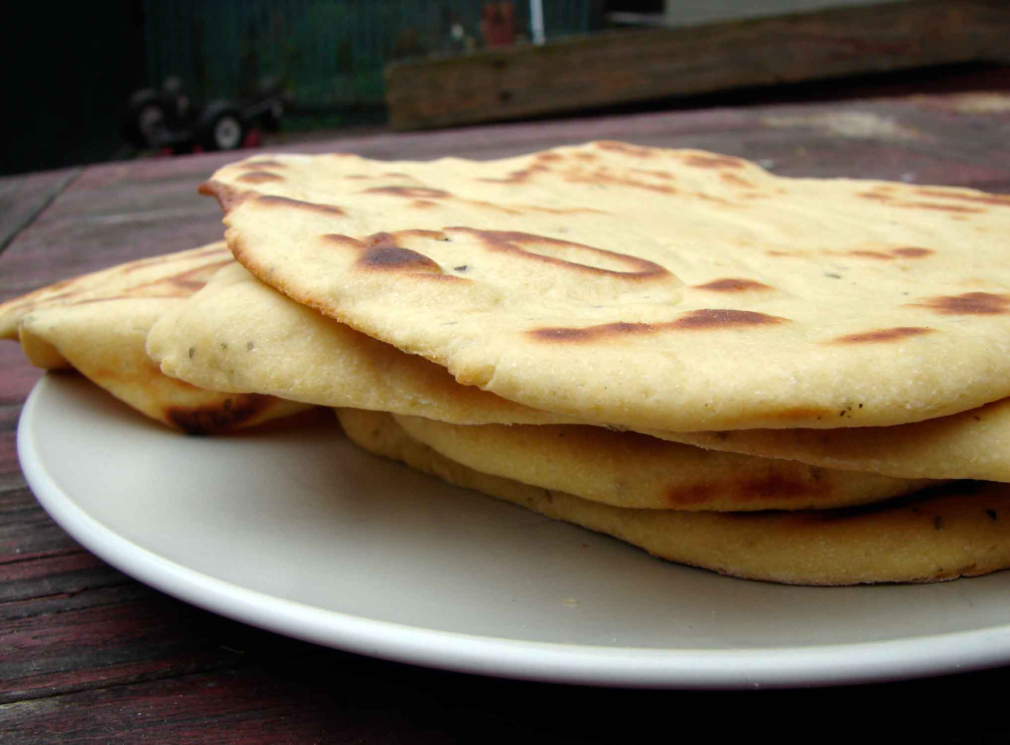 Yeasted chickpea flour and sage flatbreads