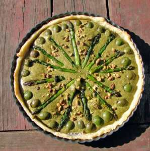 Asparagus, pistachio, castelvetrano tart