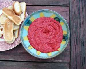 Roasted beet, roasted pepper and white bean dip