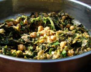 Curried broccoli rabe and chickpeas