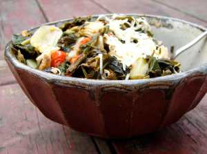 Collards with artichoke hearts, olives and capers