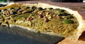 Asparagus pistachio castelvetrano tart