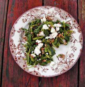 Broccoli rabe, pecans, and french feta