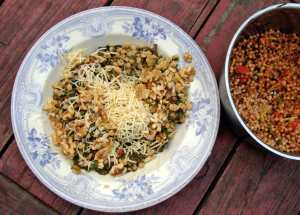 Chard and white beans with walnuts, raisins and smoked gouda