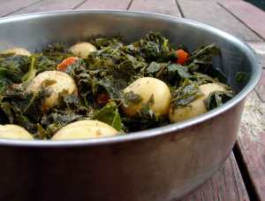 kale & new potatoes with lemon and sage