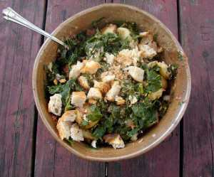 Kale, new potatoes, and tapenade