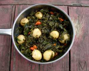 kale and new potatoes with lemon and sage