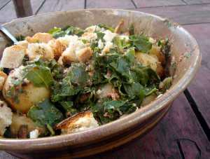 Kale, new potatoes and tapenade