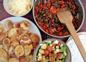 Masa-dusted potatoes, red beans and roasted red peppers, and lime honey cucumber guacamole