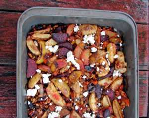 Roasted beets, potatoes and white beans