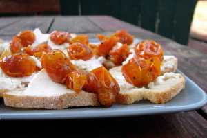 Roasted grape tomato crostini