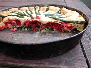 Savory almond cake with beets and asparagus