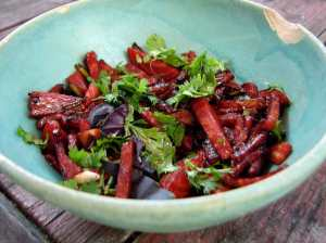 Beets glazed with tamari
