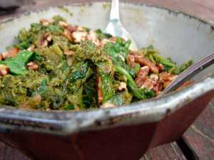 Broccoli rabe with spiced butter and pecans