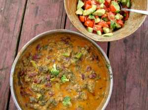 Chard, broccoli and kidney beans in coconut curry sauce