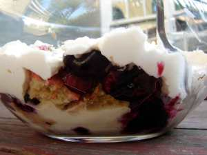 Cherry and black currant trifle