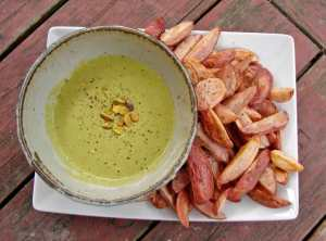 Pistachio tarator sauce and roasted fingerlings