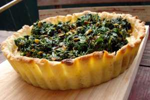 Pistachio tart with greens