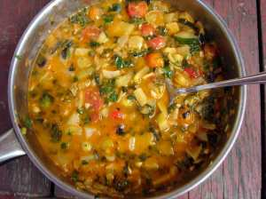 Summery sauce with lemon, ginger, basil, and cilantro