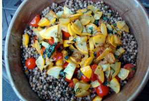 Pearled couscous and french lentils with yellow squash, tomatoes and fresh herbs