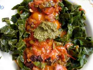collard fettucine with two sauces