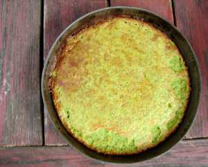 cornmeal cake with goat cheese and spinach
