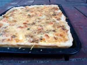 Leek and caper tart