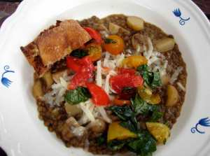 Lentil leek and potato stew