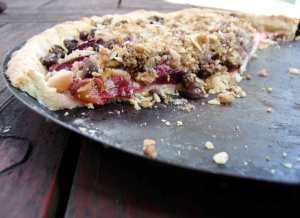 Plum, peach, and cherry tart