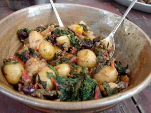 Potatoes, chard, olives and capers